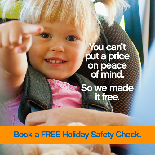 Image of child in car seat with title You can't put a price on peace of mind, so we made it free